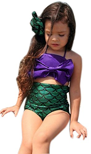 Little Girls 2 Pcs Princess Mermaid Tail Swimmable Costumes Bikini Set Swimwear