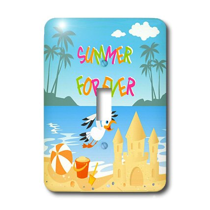 3dRose lsp_156607_1  Forever Summer Tropical Beach with Islands, Palm Trees, A Sand Castle and Seagull Single Toggle Switch