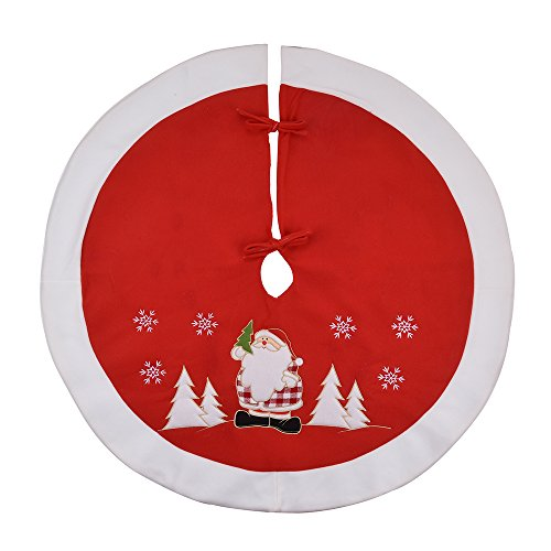 36' Santa (X.Sem 36'' Luxury Christmas Tree Skirts Santa Embroidery with Trim Border Tree Decoration Holiday Ornament (Red))