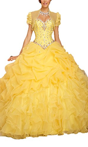 OkayBridal Women\'s Organza Prom Gown Long Beaded Ball Gown Quinceanera  Dresses Plus Size 22 US Yellow