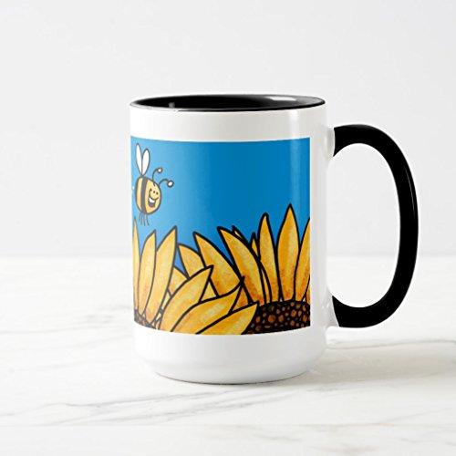 Bee Trail Sunflower (Zazzle Bee Trail Sunflower Mug, Black Combo Mug 15 oz)