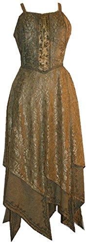 Robe Or Sable Soir Commerçants Agan 008 Dr Renaissance En Dentelle Asymétrique Gothique