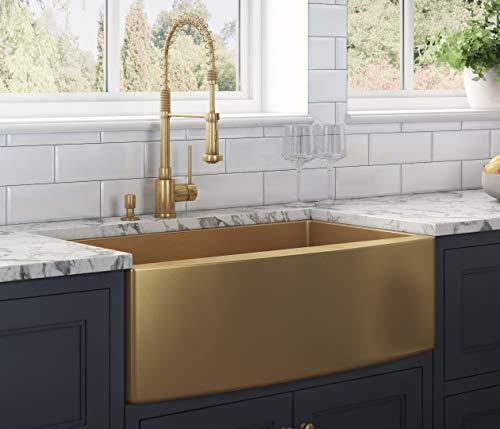Ruvati Brass Tone 30-inch Apron-Front Matte Gold Stainless Steel Farmhouse Kitchen Sink – Single Bowl – RVH9660GG