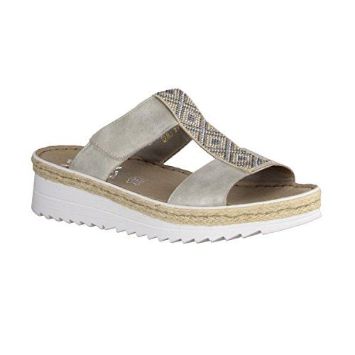 Rieker Mujeres Zapatos abiertos gris, (grey/beige) V3280-40 gris