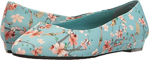 uppies Women's Darlene Flat, Aqua, 9 W US (Aqua Wedges)