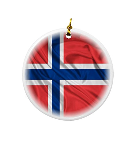 (Rikki Knight Norway Flag Design Round Porcelain Two-Sided Christmas)