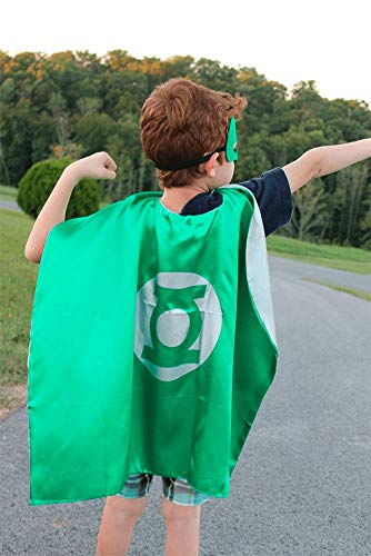 Green Lantern Girl Halloween Costume (Easy Host Superhero Cape and Mask, Kid's Party Costumes, 2pcs Cloak and Mask in)