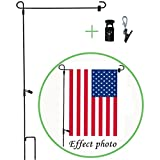 #5: W&X Garden Flag Stand-Holder-Pole with Garden Flag Stopper and Anti-Wind Clip 36.3