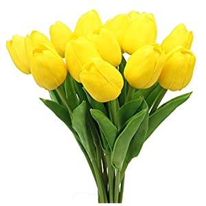 Duovlo 18 heads Artificial Mini Tulips Real Touch Wedding Flowers Arrangement Bouquet Home Room Centerpiece Decor (Yellow) 88