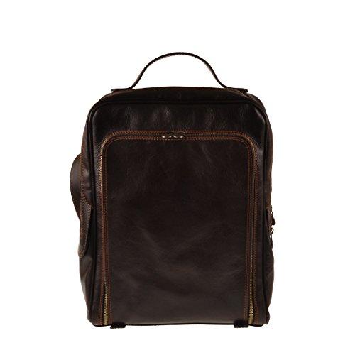 Pellevera Roma mochila de cuero italiano. (rojo) marron oscuro