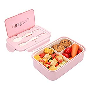 G.a HOMEFAVOR 1000 ml Plastic Bento Lunch Box for Adults & Kids, Food Container with 3 Compartments and Cutlery Set(Fork and Spoon), Microwave & Dishwasher Safe (Light Pink)