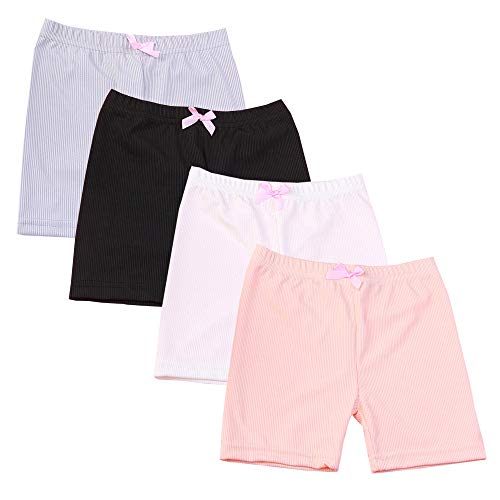 Bossail 3-12 Years Girl's Solid Color Lace Trim Boyshort Underwear Safety Dress Panties 4 Pack (Style2, 10-12 - Girls Size Big Shorts 12