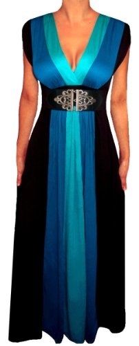 Funfash ZB3 Plus Size Women Slimming Blue Black A Line Long Maxi Cruise Dress 3X