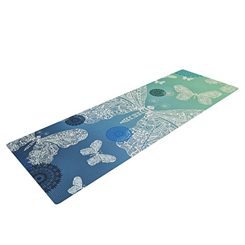 Kess InHouse Monika Strigel Butterfly Dreams Ocean Yoga Exercise Mat, Blue/Green, 72 x 24-Inch
