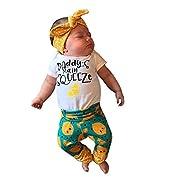 Rucan Hot Sale 2Pcs Infant Baby Boys Girls Letter Lemon Cartoon Romper Jumpsuit+ Pants Set Outfits (0-3 Months)