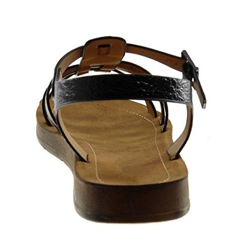 Multi Lanière Femme Spartiates Mode Cheville Cm Sandale Chaussure 2 Angkorly bride Talon Salomés Noir Grainé Plat x0twzqBFF