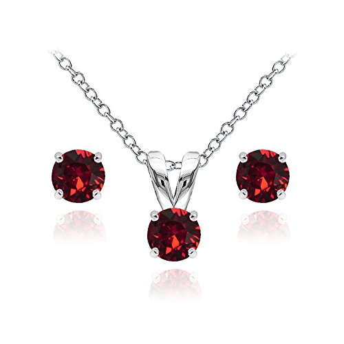 GemStar USA Sterling Silver Solitaire Necklace Stud Earrings Set Made Swarovski Crystals