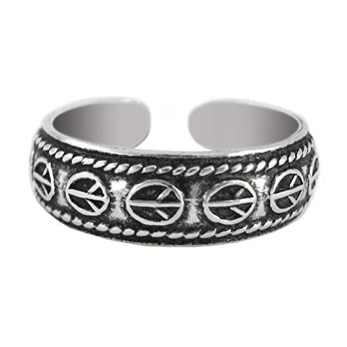 Sosi B. Sterling Silver Peace Signs Band Adjustable Toe Ring