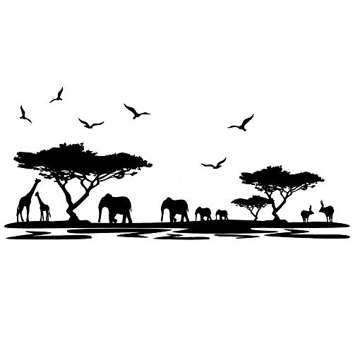 DNVEN Border (63w X 30h) African Elephants Mural Vinyl Wall Decals Safari Africa Jungle Animal Elephant Giraffe Wall Decor for Living Room Forest Animals Wall Decals Scene for Kids Nursery Bedroom