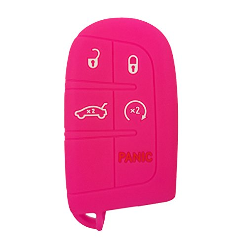 Coolbestda Silicone 5 Buttons Smart Key Fob Remote Cover Case Keyless Entry Protector Bag for Jeep Grand Cherokee Dodge Challenger Charger Dart Durango Journey Chrysler 300 Rose