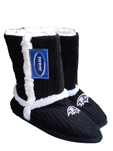 Womens Knit Sherpa Boot (FOCO Baltimore Ravens HIGH END Knit Sherpa Boot Slipper (Small 5-6, Black, White, Purple))