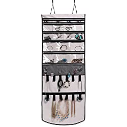 Misslo Door Wall Hanging Jewelry Organizer Scroll Storage for Necklace, Earrings, accessories, Beige