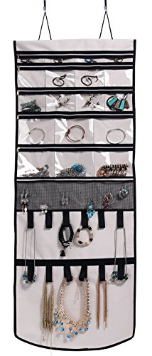 Misslo Door Wall Hanging Jewelry Organizer Scroll Storage for Necklace, Earrings, accessories, Blue with white polka - Polka Wall Dots Hanging