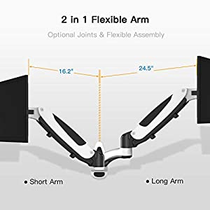 Single Arm Wall Mount Monitor Stand - Universal Adjustable Articulating Gas Spring Monitor Arm - Aluminum Wall Mounted Bracket fits 15-27 Inch LCD Screens - Holds up to 17.6lbs, VESA 75x75 100x100mm