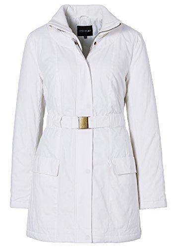 Elegante abrigo corto muy chic con bolsillos chaqueta de mujer blanco