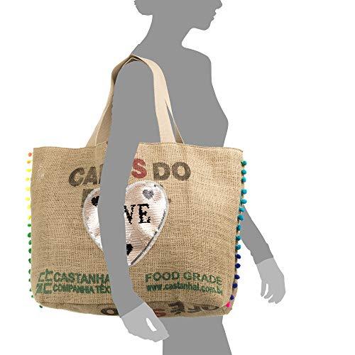 made Cm bolso premium tela Firenze Artegiani Cointa Shopper Tejido Mujer Bolso Shopper Marron Italy In Hombro bolso Love Color 45x17x40 arpillera Lona Marrón Mujer CqH7ZC