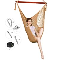 Greenstell Hammock Hanging Chair with Hanging Kits and 150cm Strap,Large Caribbean Swing Chair Comfortable Durable,100% Soft-Spun Polyester,for Indoor,Outdoor,Home,Patio,Yard,Garden 40 Inch (Tan)