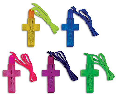 Kipp Brothers Bright Colored Cross Shaped Bubble Necklace Party Favors - 12 Pack ()