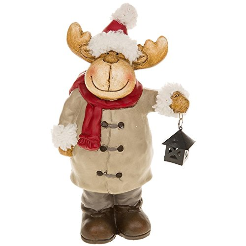 LARGE CHRISTMAS REINDEER FIGURE FUR XMAS LANTERN ORNAMENT NEW /& BOXED