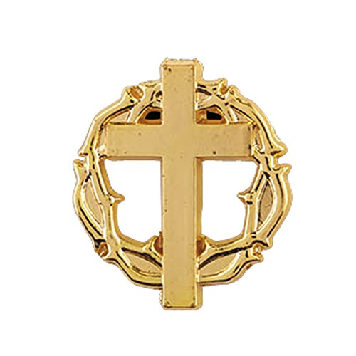 Gold Toned Crown of Thorns and Cross Lapel Pin with Bookmark, 7/8 (Cross Crown Pin)