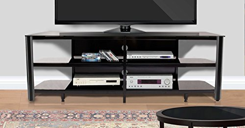 "Modern Steel Stand Tv (Innovex TPT73G29 Oxford Fold N Snap 73"" Glass Tv Stand for Tv's up to 75"