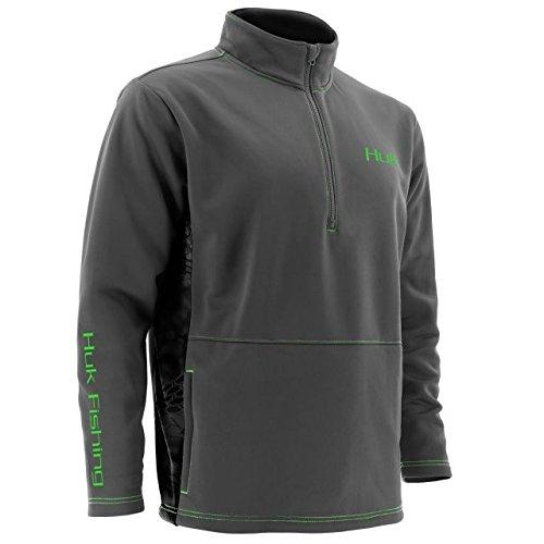 Huk Fleece 1/4 Zip Long Sleeve, Cool Charcoal Grey, Large