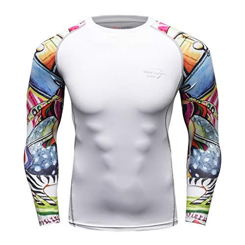POQOQ Fashion Men's Long Sleeve Yoga Fitness Print Soft T-Shirt Top -
