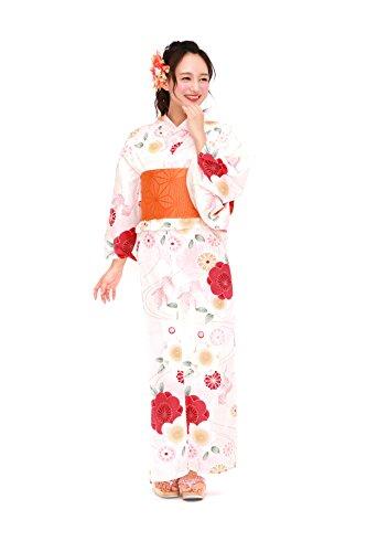 理想的に向けて出発調整[ボヌールセゾン] bonheur saisons レディース浴衣セット 半幅帯 薄黄色 クリーム 赤ピンク 桜 菊 金魚 ラメ 綿 女性