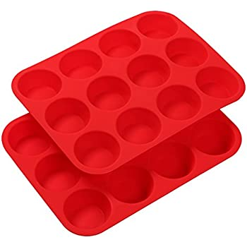 Finnhomy 2-Pack Silicone Muffin Pan Cupcake Maker 12 Cup Each