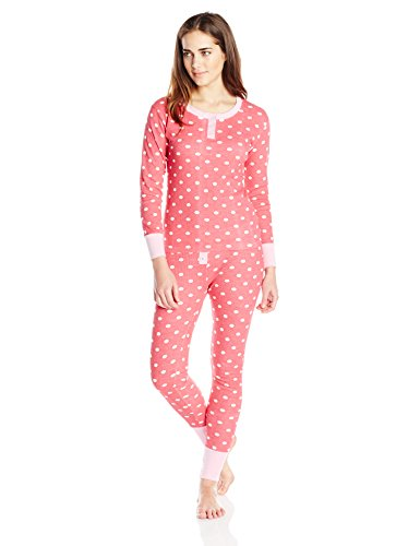 Bottoms Out Women's Patterned Thermal Pajama Set, Cherry Red, Large