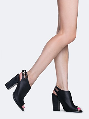 Peep Toe Bootie Stacked high Heel Open Toe Ankle Boot Cutout Ankle Strap Shoes