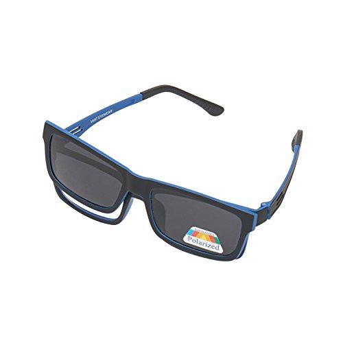 Vast Polarized Magnetic Clip on Sunglasses Plus Frame (P005BlkBlue 53 Grey Lens )