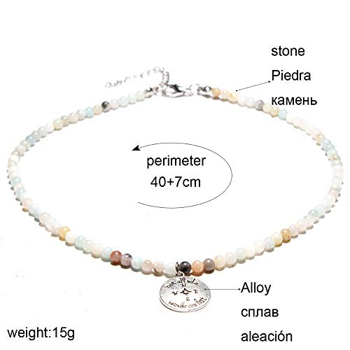 (Handcraft Fashion Necklaces Pendants for Women Amazonite Natural Stone Choker Necklace Collier Femme)