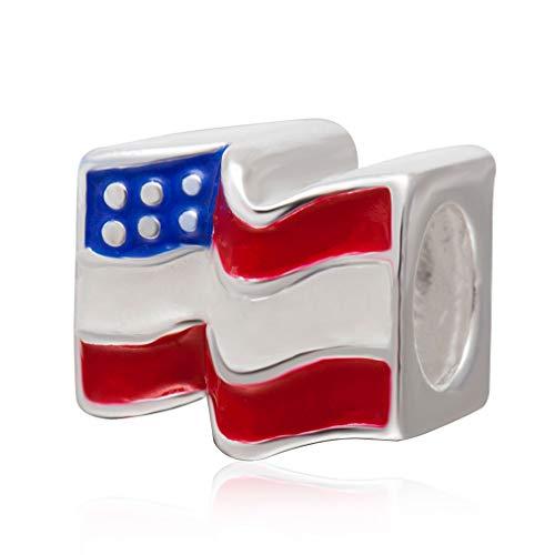 Everbling American Flag Patriotic 925 Sterling Silver Bead Fits European Charm Bracelet 925 Sterling Silver American Flag