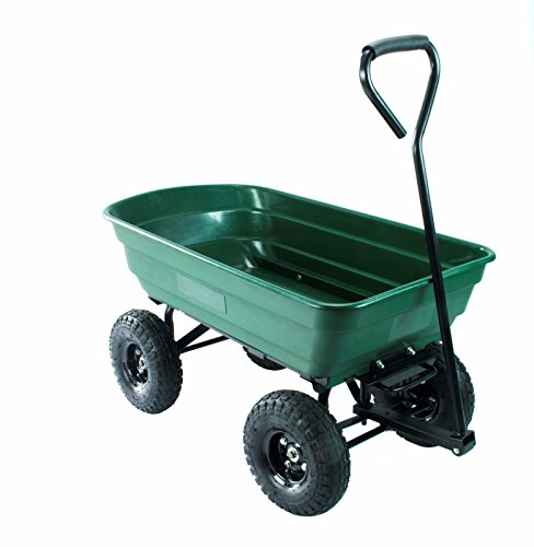 Erie Tools Poly Garden Dump Utility Yard Cart Heavy Duty Steel Frame Yard Wagon with 550 lbs Max Hauling Capacity