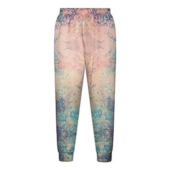 Women Fashion Flowers Galaxy 3D Casual Pants Sports Jogging Pants Sweatpants (L)
