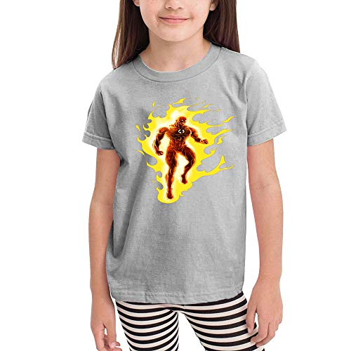 WodCht Girl Short Sleeve T-Shirt Clothes Outfit Human-Torch 5T/6T Gray -