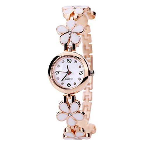JSHE Elegant Small Rhinestone Dial Rose Gold Daisy Flower Stainless Steel Women Bracelet Analog Dress Watch White