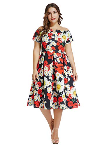 Lalagen Womens Vintage 1950s Flare Rockabilly Plus Size Cocktail Prom Dress Red Flower XL from Lalagen