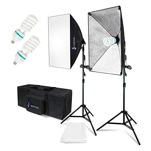 Julius Studio Photography Continuous Equipment Softbox 800W Lighting Kit with E27 Socket Light and 50 x 70 cm Reflectors and 6500K Bulbs for Video Camera Photography Portraits Photo Studio, JSAG344_V2